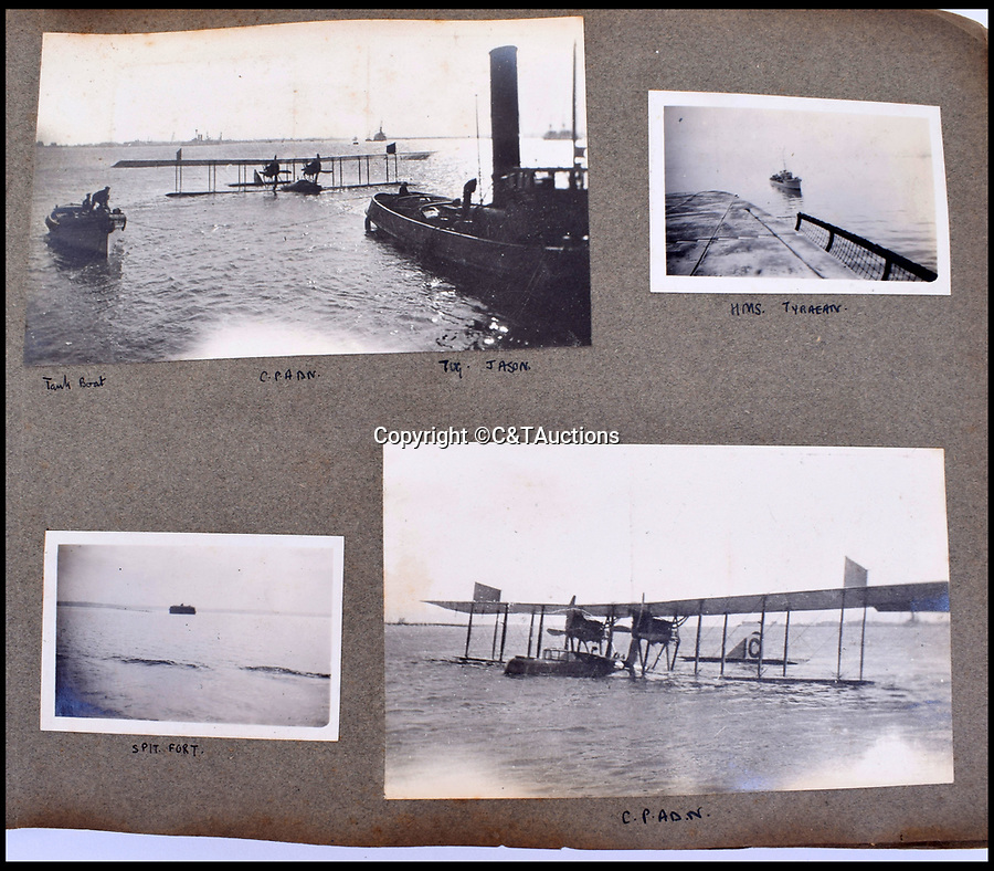 BNPS.co.uk (01202 558833)<br /> Pic: C&TAuctions/BNPS<br /> <br /> A huge Felixstowe flying boat is recovered after a crash landing.<br /> <br /> A fascinating photo album which documents the adventures of a captain in the fledgling Royal Naval Air Service has been unearthed after 100 years.<br /> <br /> The photos were compiled by Captain Denis Carey who was based in Maidstone, Kent, and they provide a fascinating insight into the air arm of the Royal Navy during the First World War.<br /> <br /> They show the thrills and spills of the pioneering early days of aviation in a world before health and safety had been invented.