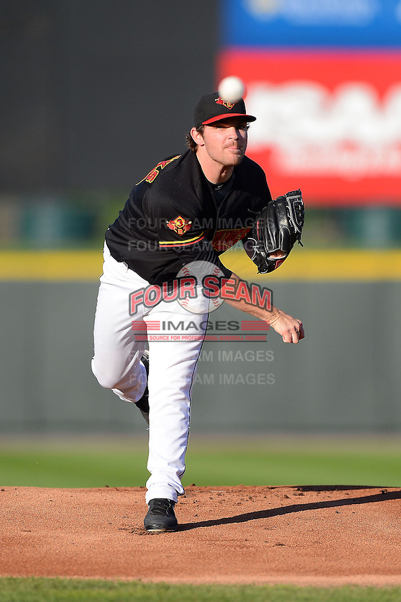 Rochester Red Wings pitcher Liam Hendriks #40 during a game against the Scranton Wilkes-Barre RailRiders on June 19, 2013 at Frontier Field in Rochester, New York.  Scranton defeated Rochester 10-7.  (Mike Janes/Four Seam Images)