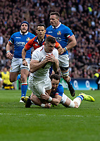 Jonny May of England is held up short of the try line during the Guinness Six Nations match between England and Italy at Twickenham Stadium on March 9th, 2019 in London, United Kingdom. Photo by Liam McAvoy.