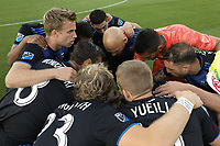 SAN JOSE, CA - AUGUST 24: San Jose Earthquakes huddle during a Major League Soccer (MLS) match between the San Jose Earthquakes and the Vancouver Whitecaps FC  on August 24, 2019 at Avaya Stadium in San Jose, California.