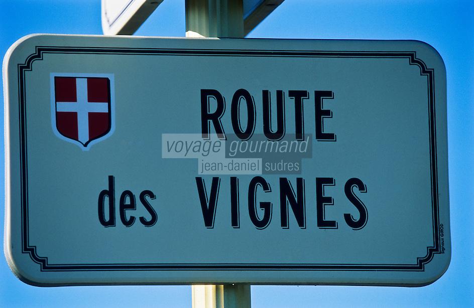 Europe/France/Rhône-Alpes/73/Savoie/AOC vin de Savoie Abymes : Plaque  de la Route des Vignes