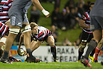 Richard Judd passes from the base of a scrum. The game of Three Halves, a pre-season warm-up game between the Counties Manukau Steelers, Northland and the All Blacks, played at ECOLight Stadium, Pukekohe, on Friday August 12th 2016. Photo by Richard Spranger.