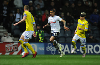 Preston North End's Lukas Nmecha under pressure from Leeds United's Liam Cooper (left) and Ezgjan&nbsp;Alioski<br /> <br /> Photographer Kevin Barnes/CameraSport<br /> <br /> The EFL Sky Bet Championship - Preston North End v Leeds United -Tuesday 9th April 2019 - Deepdale Stadium - Preston<br /> <br /> World Copyright &copy; 2019 CameraSport. All rights reserved. 43 Linden Ave. Countesthorpe. Leicester. England. LE8 5PG - Tel: +44 (0) 116 277 4147 - admin@camerasport.com - www.camerasport.com
