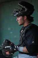 Stryker Trahan (25) of the Visalia Rawhide in the dugout during a game against the Lancaster JetHawks at The Hanger on June 16, 2015 in Lancaster, California. Lancaster defeated Visalia, 11-3. (Larry Goren/Four Seam Images)