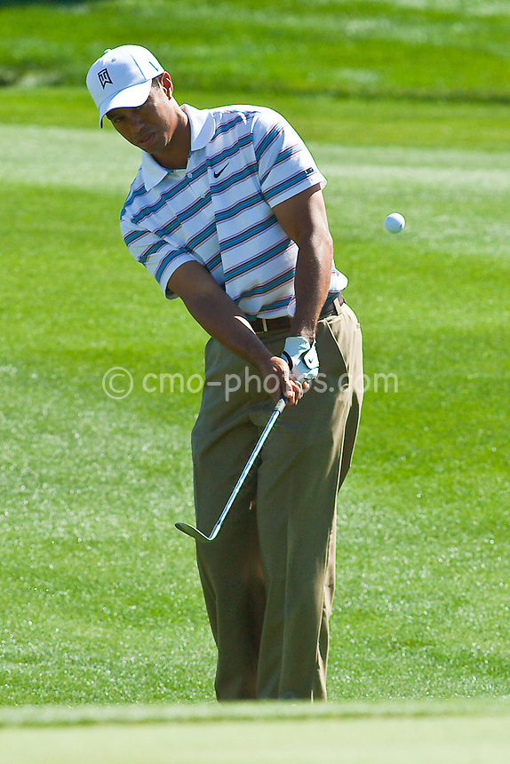 Feb 26, 2009; Marana, AZ, USA; Tiger Woods (USA) chips the ball on the 10th hole during the second round of the World Golf Championships-Accenture Match Play Championship at the Ritz-Carlton Golf Club, Dove Mountain.