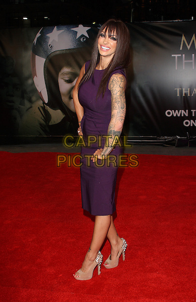 """Jodie Marsh.The """"Michael Jackson : The Life Of An Icon"""" UK premiere, Empire cinema, Leicester Square, London, England..2nd November 2011.full length purple dress hands on hips peep toe shoes beige side .CAP/ROS.©Steve Ross/Capital Pictures."""