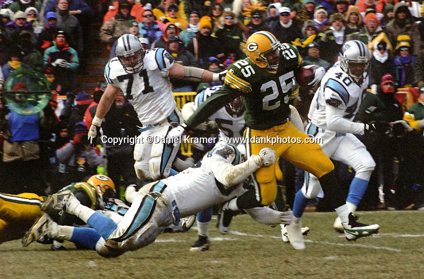 "Green Bay Packers running back Dorsey Levens rushed for 88 yards and added another 117 yards receiving as the Packers defeated the Panthers 30-13 in the NFC Championship to advance to their first Super Bowl in 29 years. This was the first title game in Green Bay since the ""Ice Bowl"" in 1967."