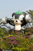 "Tian'anmen Square (Place of Heavenly Peace). Flower display with Beijing 2008 Olympics mascots (""Friendlies"") Jingjing, the panda."