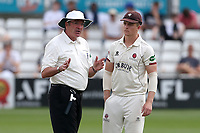 Somerset skipper Tom Abell disputes a decision to give Peter Siddle not out with umpire Nick Cook during Essex CCC vs Somerset CCC, Specsavers County Championship Division 1 Cricket at The Cloudfm County Ground on 25th June 2019
