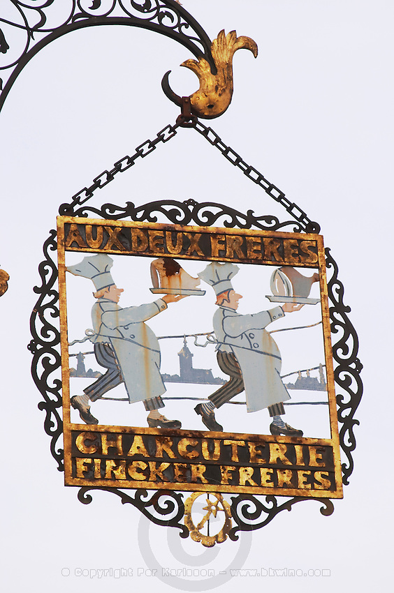 charcuterie and fine food fincker freres wrought iron sign colmar alsace france