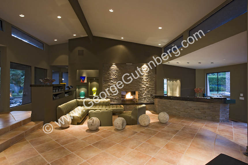 Moderm living room feature stacked stone walls