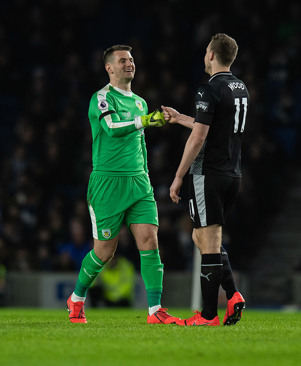 Burnley's Thomas Heaton <br /> <br /> Photographer David Horton/CameraSport<br /> <br /> The Premier League - Brighton and Hove Albion v Burnley - Saturday 9th February 2019 - The Amex Stadium - Brighton<br /> <br /> World Copyright &copy; 2019 CameraSport. All rights reserved. 43 Linden Ave. Countesthorpe. Leicester. England. LE8 5PG - Tel: +44 (0) 116 277 4147 - admin@camerasport.com - www.camerasport.com