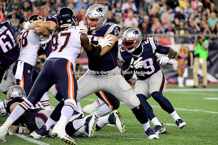 Thursday, August 18 2016: New England Patriots tackle Nate Solder (77) blocks Chicago Bears outside linebacker Willie Young (97) for running back LeGarrette Blount (29) during a pre-season NFL game between the Chicago Bears and the New England Patriots held at Gillette Stadium in Foxborough Massachusetts. The Patriots defeat the Bears 23-22 in regulation time. Eric Canha/Cal Sport Media