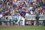 OMAHA, NE - JUNE 26: Russell Reynolds (45) of Louisiana State University celebrates after getting a strikeout against the University of Florida during the Division I Men's Baseball Championship held at TD Ameritrade Park on June 26, 2017 in Omaha, Nebraska. The University of Florida defeated Louisiana State University 4-3 in game one of the best of three series. (Photo by Justin Tafoya/NCAA Photos via Getty Images)