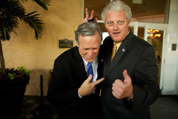 George W. Bush and Bill Clinton impersonators play about at The Sunburst Convention of Tribte Artists