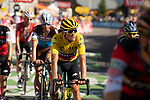 Yellow Jersey Greg Van Avermaet (BEL) BMC Racing Team crosses the finish line at the end of Stage 11 of the 2018 Tour de France running 108.5km from Albertville to La Rosiere Espace San Bernardo, France. 18th July 2018. <br /> Picture: ASO/Pauline Ballet | Cyclefile<br /> All photos usage must carry mandatory copyright credit (&copy; Cyclefile | ASO/Pauline Ballet)