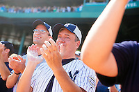 BOSTON, MASS. - SEPT. 28, 2014: Chris Kowalczuk tears up during the pre-game ceremony honoring Derek Jeter before the New York Yankees and Boston Red Sox play at Fenway Park. Kowalczuk, who came to the game from Roanoke, Virginia, with friend Alan Moore (left), said he's a life-long Yankees fan. The game is last game of Derek Jeter's career. M. Scott Brauer for The New York Times