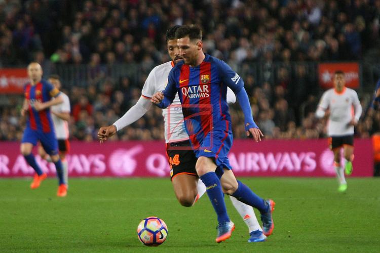 League Santander 2016/2017. Game: 28.<br /> FC Barcelona vs Valencia CF: 4-2.<br /> Garay vs Lionel Messi.