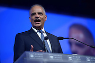 Washington, DC - October 25, 2014: U.S. Attorney General Eric Holder Jr. speaks at the Human Rights Campaign's National Dinner, October 25, 2014, at the Walter E. Washington Convention Center in the District of Columbia.   (Photo by Don Baxter/Media Images International)