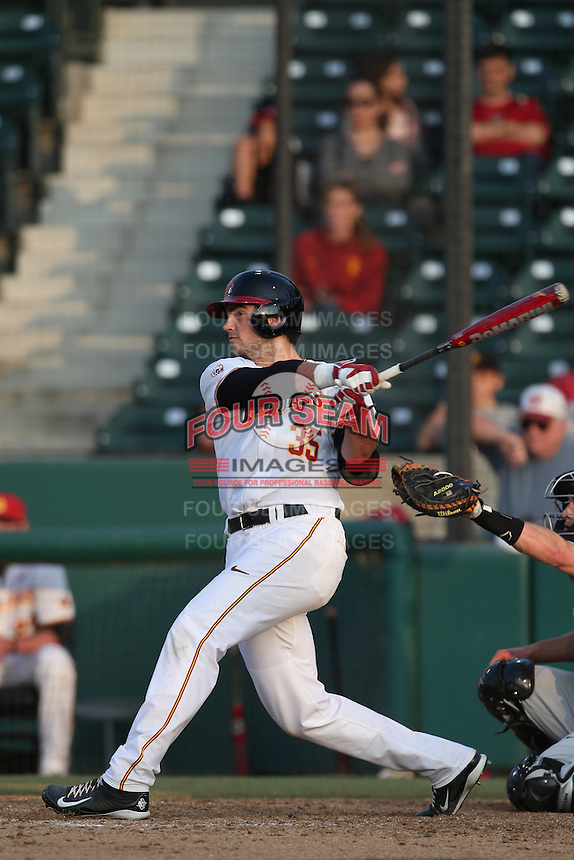 Andrew Wright (35) of the Southern California Trojans bats during a game against the Oakland Grizzlies at Dedeaux Field on February 21, 2015 in Los Angeles, California. Southern California defeated Oakland, 11-1. (Larry Goren/Four Seam Images)