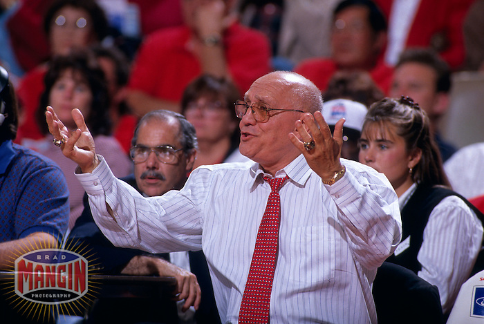 FRESNO, CA:  Fresno State mens basketball coach Jerry Tarkanian in action during a game at Selland Arena in Fresno, CA in 1995. (Photo by Brad Mangin)
