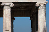 ATHENS, GREECE - APRIL 10 : A detail of Ionic columns of the Erechtheum, on April 10, 2007, in Athens, Greece. The Erechtheum was built on the Acropolis, between 421 and 405 BC, in the Ionic Order. The capitals of the columns are decorated with palmettes and a cable pattern between the volutes. (Photo by Manuel Cohen)