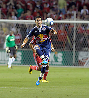New York forward Juan Pablo Angel (9) receives the ball.  The Chicago Fire tied the New York Red Bulls 0-0 at Toyota Park in Bridgeview, IL on August 8, 2010