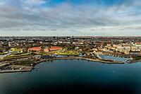 020 190110 Dronebilleder af Den lille  Havfrue, Kastellet, Amager Bakke, Papir&oslash;en, Skuespilhuset, Amalienborg og Inderhavnsbroen.<br /> Foto: Jens Panduro