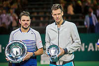 Februari 15, 2015, Netherlands, Rotterdam, Ahoy, ABN AMRO World Tennis Tournament, Final:   left winner Stanislas Wawrinka (SUI) right runner up Tomas Berdych (CZE) <br /> Photo: Tennisimages/Henk Koster