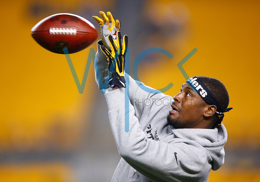 Jacoby Jones #13 of the Pittsburgh Steelers warms up prior to the game against the Indianapolis Colts at Heinz Field on December 6, 2015 in Pittsburgh, Pennsylvania. (Photo by Jared Wickerham/DKPittsburghSports)