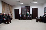 Palestinian president Mahmoud Abbas meets with Mufti of Jerusalem and Palestine, Sheikh Mohammed Hussein and Governor of Jerusalem at his office, in the West Bank city of Ramallah, on July 21, 2017. Photo by Thaer Ganaim