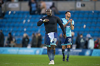 Adebayo Akinfenwa of Wycombe Wanderers leaves the field after his teams 1 2 loss during the Sky Bet League 2 match between Wycombe Wanderers and Crawley Town at Adams Park, High Wycombe, England on 25 February 2017. Photo by Andy Rowland / PRiME Media Images.
