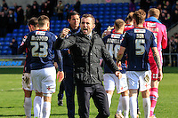 Luton Town manager Nathan Jones shows his delight after his sides victory after the Sky Bet League 2 match between Oxford United and Luton Town at the Kassam Stadium, Oxford, England on 16 April 2016. Photo by Liam Smith.