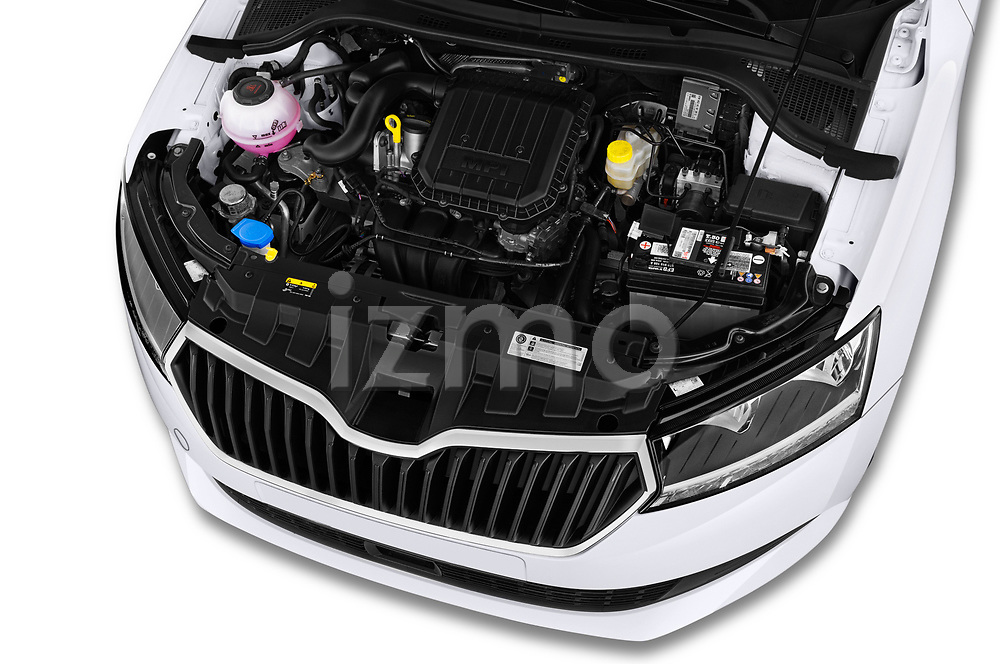 Car stock 2019 Skoda Fabia Ambition 5 Door Hatchback engine high angle detail view