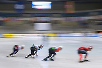 1st February 2019, Dresden, Saxony, Germany; World Short Track Speed Skating; 1000 meters men in the EnergieVerbund Arena. Florian Becker (2nd from left) from Germany runs in a curve.