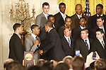 UK freshman Anthony Davis shakes hands with President Barack Obama after the UK National Championship Celebration in the East Room of the White House, in Washington D.C., May 4, 2012. Photo by Brandon Goodwin | Staff