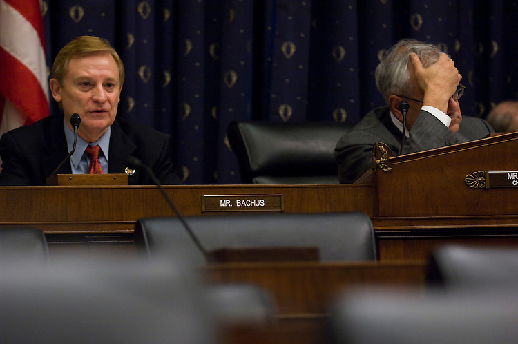 WASHINGTON, DC - Nov. 05: Ranking member Spencer Bachus, R-Ala., and Chairman Barney Frank, D-Mass., during the House Financial Services markup of consumer financial protection and systemic risk bills. (Photo by Scott J. Ferrell/Congressional Quarterly)