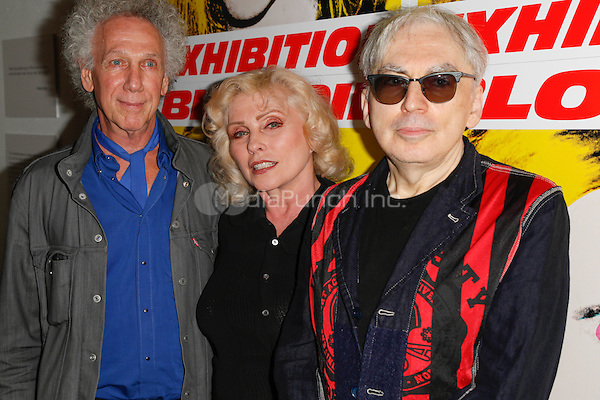 New York, NY - September 22 : (L-R), Photographer Bob Gruen, Debby Harry and Musician Chris Stein attend Blondie's 40th Anniversary Exhibition Hosted by Jeffrey Deitch held at the Chelsea Hotel Storefront Gallery on September 22, 2014 in New York City. (Photo by Brent N. Clarke / MediaPunch)