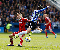 Sheffield Wednesday v Cardiff .Sky Bet Championship ....... Weds Fernando Forestieri is fouled by Cardiffs Stuart O'keefe