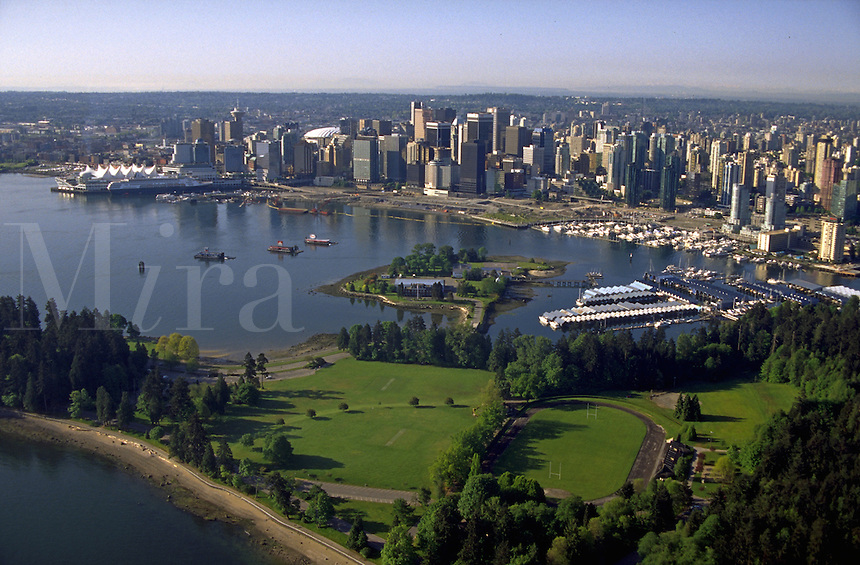 Aerial view of Stanley Park and the Vancouver skyline. Vancouver, Canada.