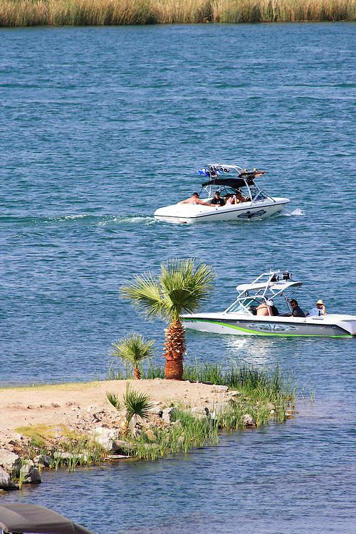 Boating fun on the Colorado River near Parker, Arizona.