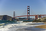San Francisco: Baker Beach with Golden Gate Bridge in background.  Photo # 2-casanf83402.  Photo copyright Lee Foster