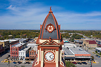 The Caldwell County Courthouse central clock tower contains a lot of history behind it as the city of Lockhart is named after Byrd Lockhart, an assistant surveyor of Green DeWitt and reportedly the first Anglo to set foot in Caldwell County. Lockhart was the site of a victory of the Texans over the Comanche, at the Battle of Plum Creek in 1840.