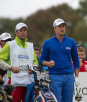 18.10.2014. The London Golf Club, Ash, England. The Volvo World Match Play Golf Championship.  Day 4 quarter final matches.  Henrik Stenson (SWE) ninth tee.