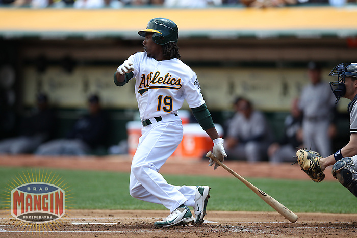 OAKLAND, CA - MAY 26:  Jemile Weeks #19 of the Oakland Athletics bats against the New York Yankees during the game at O.co Coliseum on Saturday May 26, 2012 in Oakland, California. Photo by Brad Mangin