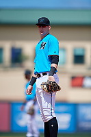 Miami Marlins first baseman Sean Reynolds (30) during an Instructional League game against the Washington Nationals on September 25, 2019 at Roger Dean Chevrolet Stadium in Jupiter, Florida.  (Mike Janes/Four Seam Images)