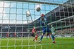 13.04.2019, Weser Stadion, Bremen, GER, 1.FBL, Werder Bremen vs SC Freiburg, <br /> <br /> DFL REGULATIONS PROHIBIT ANY USE OF PHOTOGRAPHS AS IMAGE SEQUENCES AND/OR QUASI-VIDEO.<br /> <br />  im Bild<br /> <br /> 1:0 Tor Davy Klaassen (Werder Bremen #30) Nico Schlotterbeck (SC Freiburg #49)<br /> Alexander Schwolow (SC Freiburg #01)<br />  Aufgenommen mit der Hintertor Remote Kamera<br /> <br /> Foto © nordphoto / Kokenge