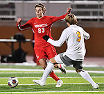 Kikwood forward Elijah McDowell (left) and CBC defender John Krahl vie for the ball. CBC played Kirkwood in a Class 4 sectional soccer game at Kirkwood High School in Kirkwood on Thursday November 14, 2019.<br /> Tim Vizer/Special to STLhighschoolsports.com