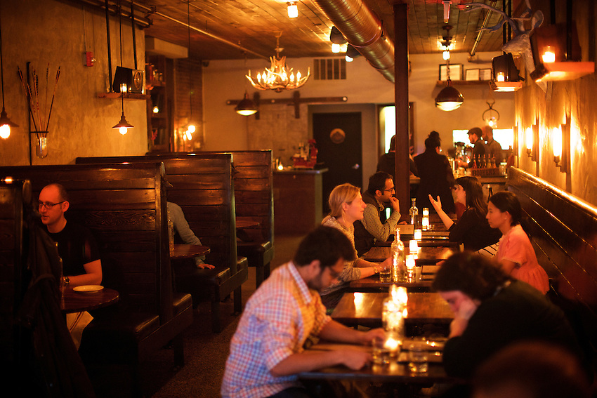 Jersey City, NJ - April 27, 2016: The Archer, a cocktail bar serving a menu of game meat-centered dishes on Newark Avenue in Jersey City.<br /> <br /> CREDIT: Clay Williams for Gothamist<br /> <br /> &copy; Clay Williams / claywilliamsphoto.com