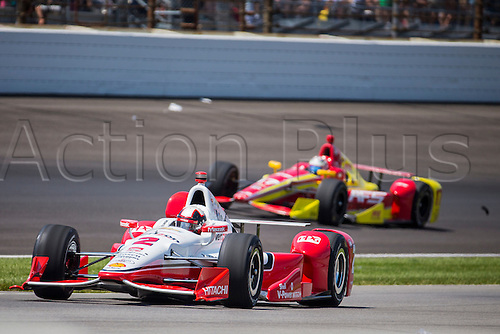 25.05.2015. Indianapolis, IN, USA.   Juan Pablo Montoya (2) rides on the warm up lane with damage to the right rear pod early on during the running of the 99th Indianapolis 500 in Indianapolis, IN.